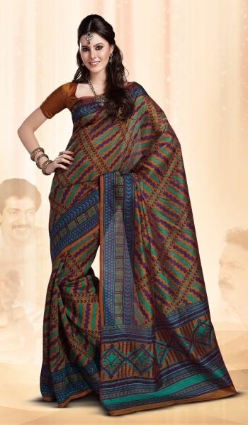 Multicolor Designer Indian Art Silk Saree with Nice Border