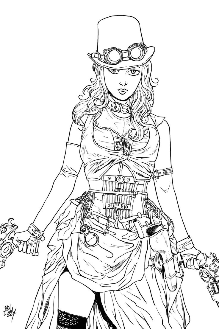 Steampunk Coloring Pages | Coloriage adulte steampunk (page 2)