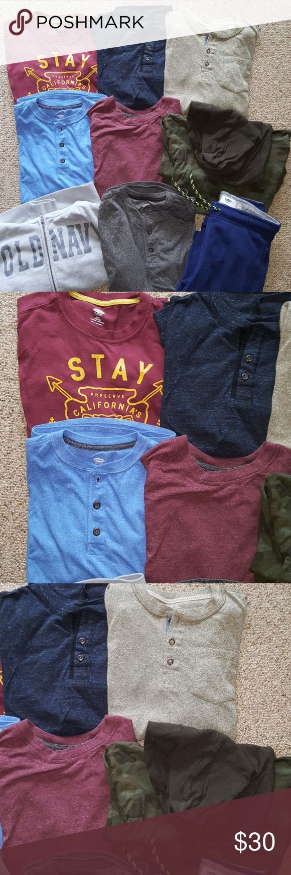 Boys long sleeve bundle size 10-12 All shirts are long sleeve (and from Old Navy with the exception of one from GAP) size 10-12. Worn once at most. Grey old navy zip up hoodie size 10-12 and brand new navy fleece pants size 10-12. No flaws. Smoke free home. Old Navy Shirts & Tops Tees - Long Sleeve