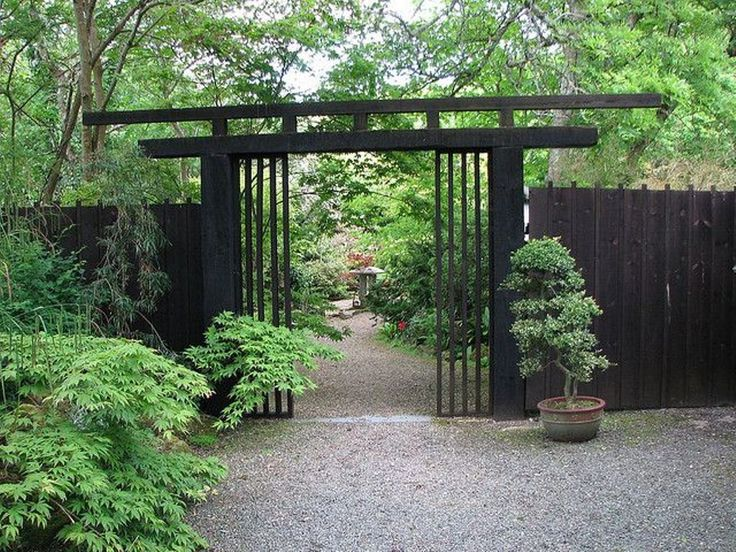 Natural Japanese Fence Design Black Japanese Fence Design With Nice Potted…