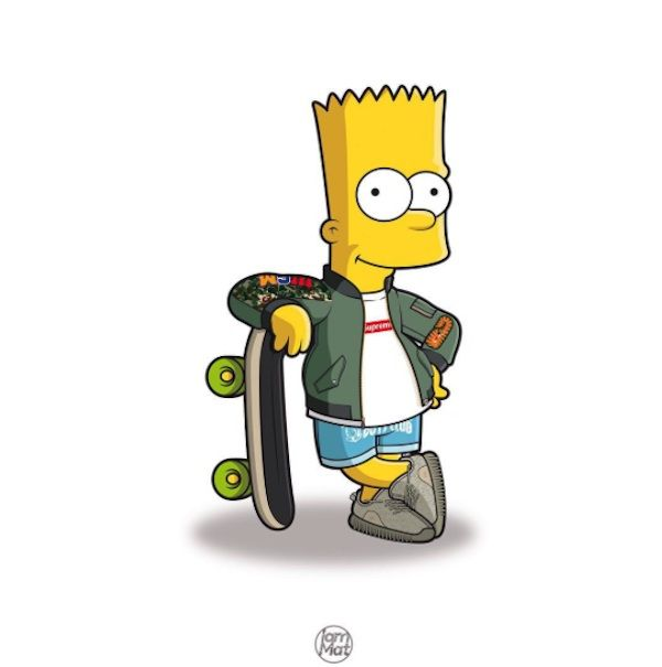 """The Simpsons"" Characters Illustrated in Street Wear & As Famous Rap Stars by Mattia Lettieri"