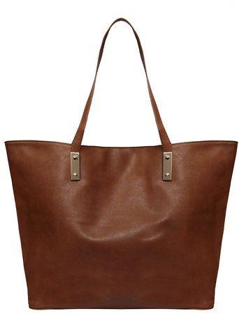 Tan plate front shopper bag