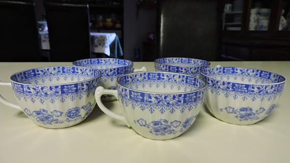 Set of 5 Schumann Arzberg CHINA BLAU Blue Teacup Bone China