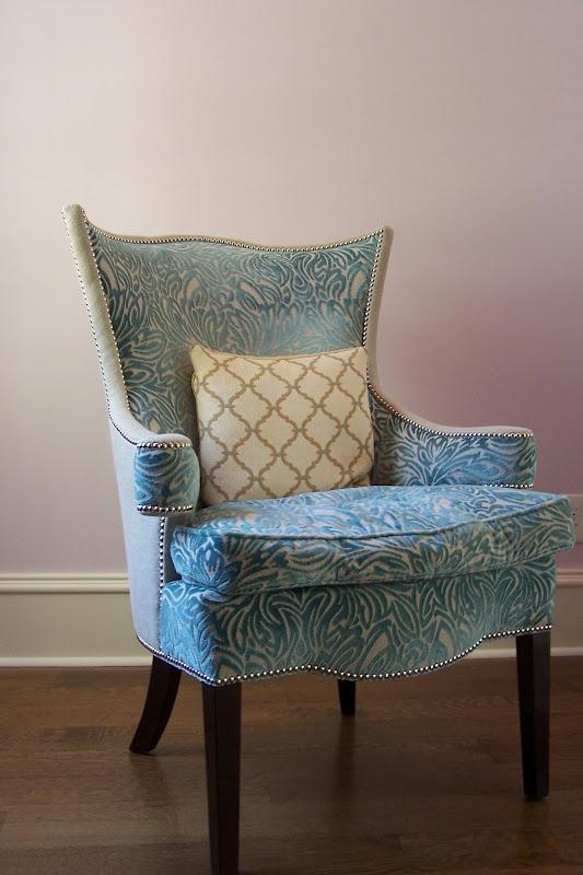 Tiff Blue Velvet Patterned Wingback Scroll Arm Chair