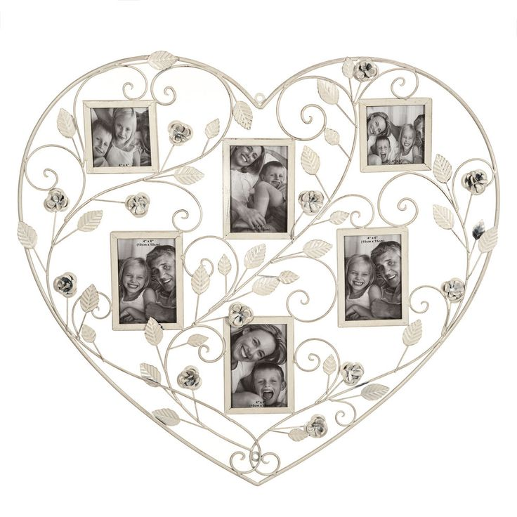 Photo Frame Collage Heart Metal Roses And Leaves Floral Design 6 Photo Apertures