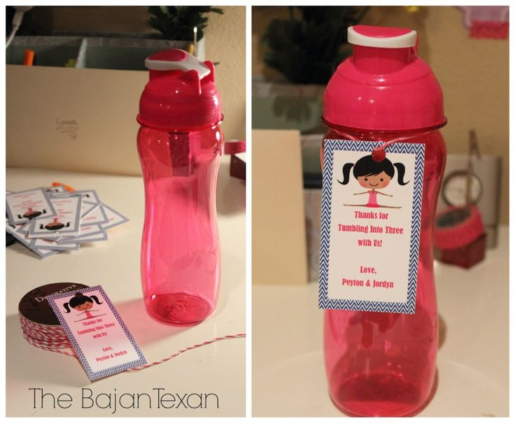DIY Gymnastics Party Favors: CD Medals and Water Bottles - The Bajan Texan