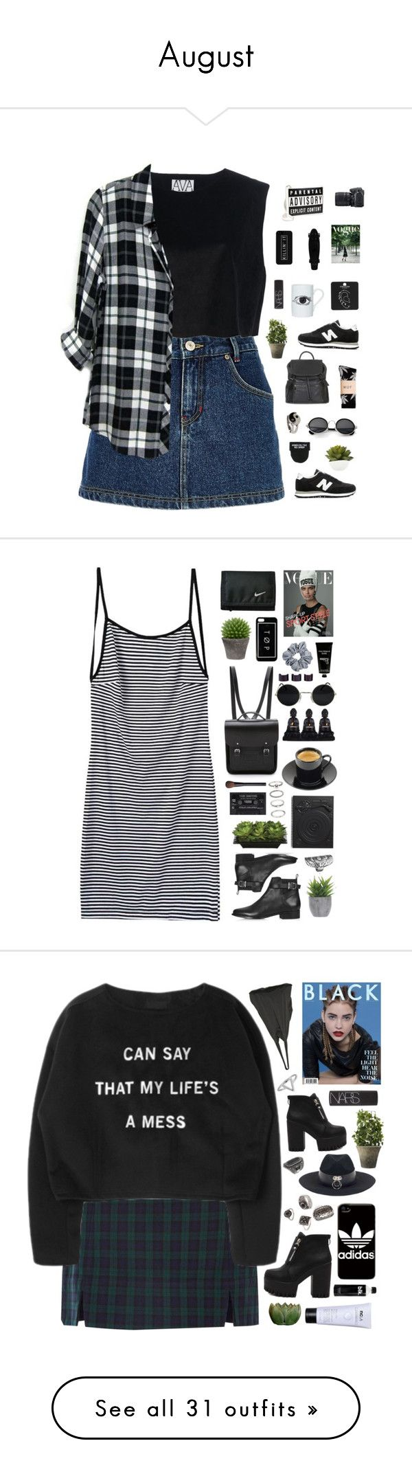 """August"" by amy-lopez-cxxi ❤ liked on Polyvore featuring River Island, New Balance, Ava Catherside, Street Level, Nikon, HUF, Topshop, DOMESTIC, NARS Cosmetics and Rails"