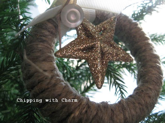 Chipping with Charm: Twine Wreath Ornament...left over jar lid rims rep...