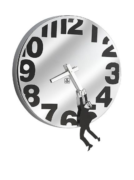 Metal Wall Clock With Man Hanging Time Marches On