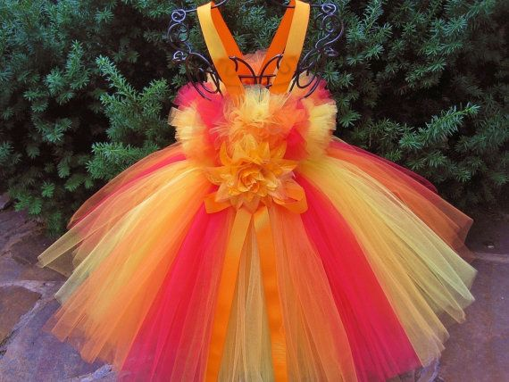 ORANGE AND YELLOW.  Tutu Dress.  Yellow Orange Red by ElsaSieron