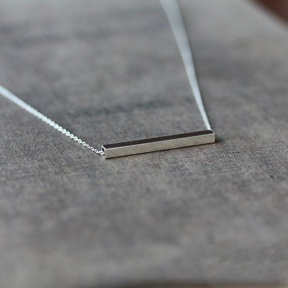 Silver Line Necklace Sterling Silver Bar Square Tube Modern Design Minimal Look Layering Jewelry