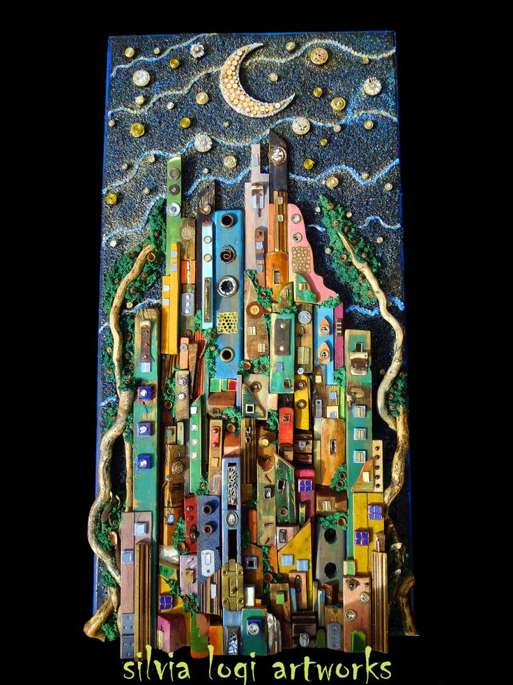 #city under streams of stars  big wallpanel in wood collage see more on my FB page https://www.facebook.com/pages/Silvia-Logi-Artworks/121475337893535?ref=br_rs
