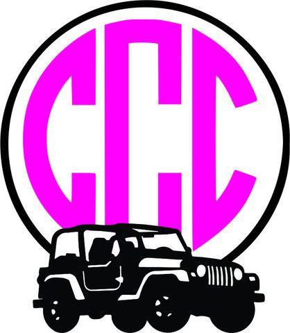 Jeep 2 Monogram Frame Vinyl Projects Pinterest