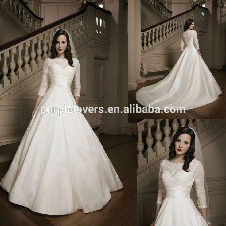 エレガントなネックラインのレーススリーブサブリナ3/4a- ラインのウェディングドレス-プラスサイズドレス、スカート-製品ID:1300002760349-japanese.alibaba.com