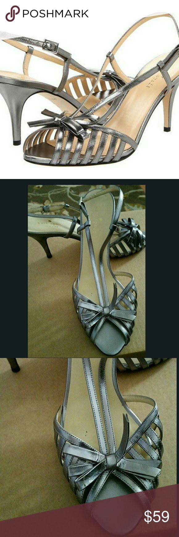 """Beautiful KATE SPADE Silver Metallic STRAPPY heels Preowned IN EXCELLENT CONDITION   KATE SPADE """"Sid"""" leather   Metallic gray/ pewter / silver  STRAPPY heels  Bow detail  SZ 10 B  3"""" heels  NO box kate spade Shoes Heels"""