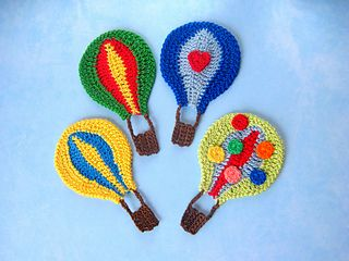 Hot Air Balloon Applique / CROCHET pattern for purchase / 3 variations