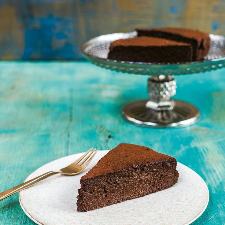 Dark Chocolate, Cardamom and Espresso Mousse Cake, an easy cake recipe by Sabrina Ghayour on www.redonline.co.uk