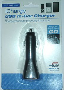 iCharge USB In-Car Charger for iPod or iPhone  Price £2.99 Delivery £0.75