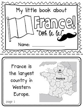 France Booklet (a country study!) -- Use during social studies units about countries around the world! TeachersPayTeachers