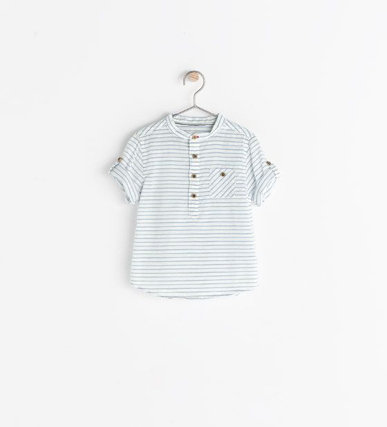 Image 1 of MAO COLLAR STRIPED SHIRT from Zara