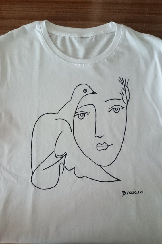 01f2c7e827a Picasso Woman with Dove Sketch T Shirt in 2019