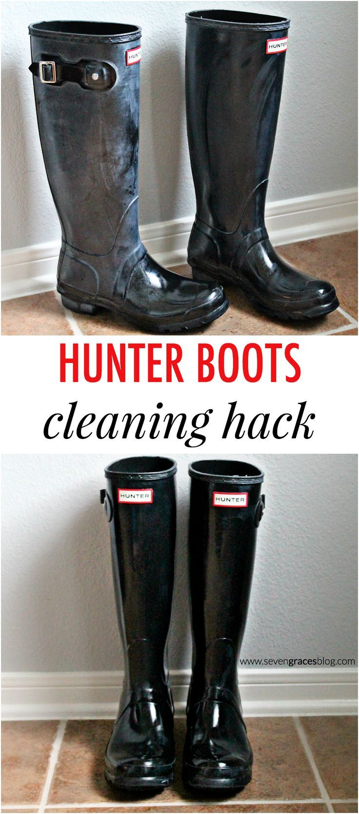 Hunter Boots Cleaning Hack. How to clean Hunter boots with household cleaning items.