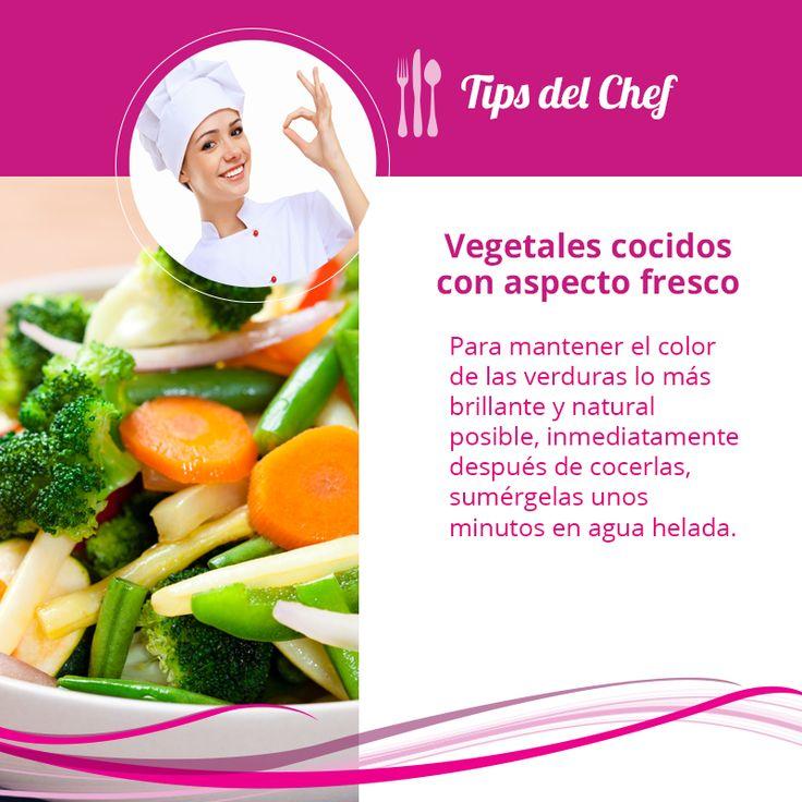 Vegetales cocidos con aspecto fresco