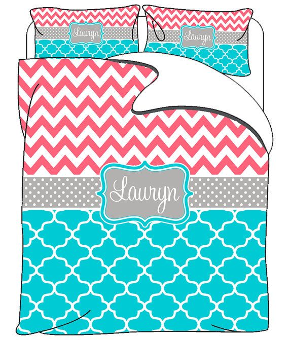 Custom Personalized Chevron-Quatrefoil Bedding - Available in Twin, Tw XL, Queen or King Duvet or Comforter - shown in coral chevron and turquoise