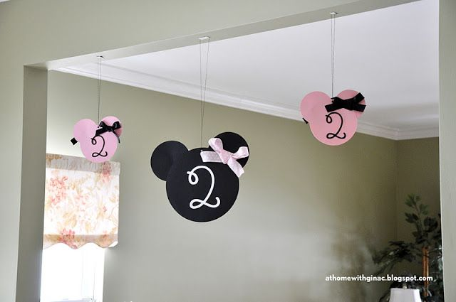 Homemade Minnie Mouse Party Ideas | different kinds of Minnie Mouse head decorations -- the hanging Minnie ...