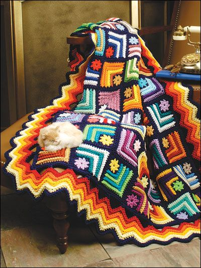 crochet - rug blanket - Catty-Corners - lovely bright mitried squares flower ripple edge - not for first thing in the morning