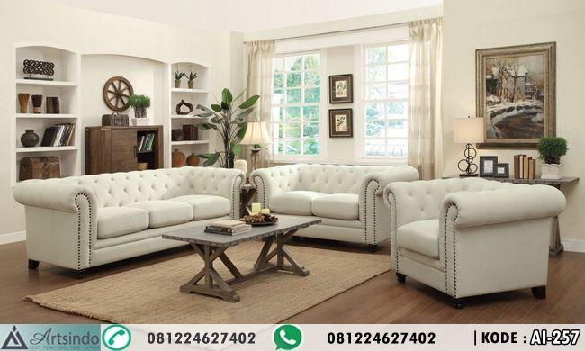 ModelSet Sofa Tamu Minimalis Putih Elegan Desain Terbaru Spesifikasi : Kode : AI-257 Bahan Rangka Kayu Jati + Bludru ( menyesuaikan ) Formasi dudukan 3 2 1 + Meja