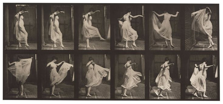 Edweard Muybridge, 'Woman dancing' (1887). Using Photography to show movement of the body and materials. http://www.royalacademy.org.uk