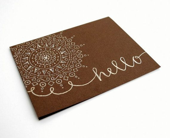 Mandala art card, hand-drawn by sparrownestscript on etsy $12