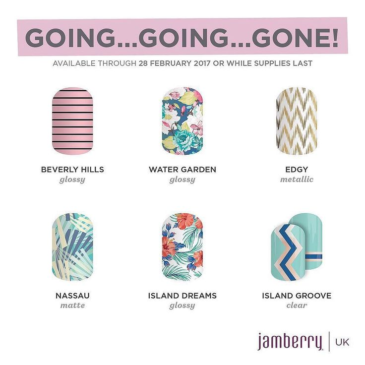 Fallen in love with any of these? If you have you need to stock up now! Im s huge fan of Beverly Hills! Simple yet girly. Edgy is a close second its elegant and sophisticated and would go with any fashion choices! #taylorednails #goinggoinggone #retiringsoon #beverleyhillsjn #watergardenjn #edgyjn #nassaujn #islanddreamsjn #islandgroovejn #mommybusiness #naillover #treatyournails #jamberry #jamberryuk #jamberrybyelisetaylor
