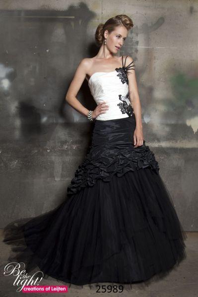Trouwjurk Creations of Leijten 25989 2-delige taft jurk met strapless halslijn in kleuren combinatie, in elke kleur mogelijk