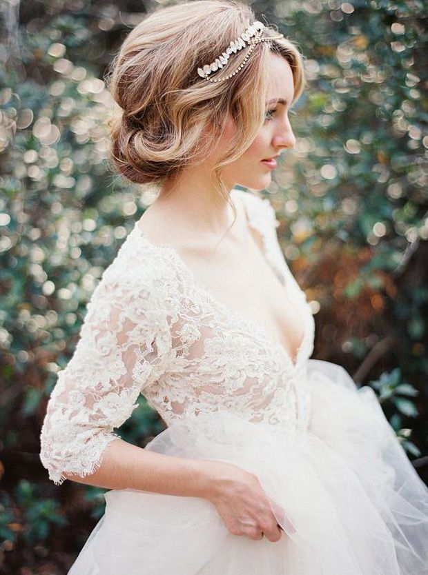 wedding updo hairstyle with elegant wedding headbands