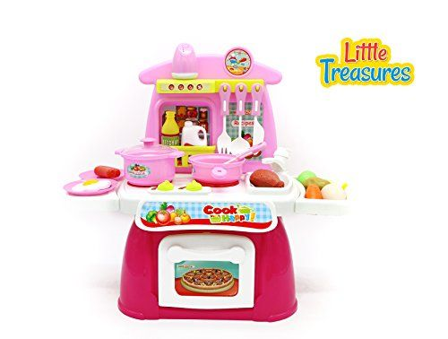 Cook Happy a complete Toddler Size toy kitchen set for kids ages 3  sound and light effects, 23 accessories including a stove and oven, storage spots, food items, utensils and crockery ** To view further for this item, visit the image link.