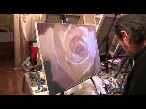 Уроки рисования для взрослых букет цветов в вазе крупным планом обучение живописи Сахаров Игорь - YouTube