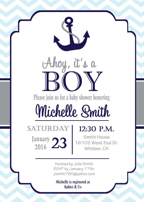 Nautical Baby Shower Invitation anchor baby by PrintYourEvent
