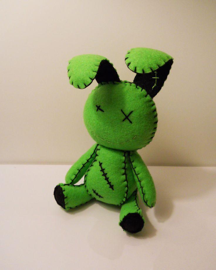 Felt little goth zombie green bunny rabbit .