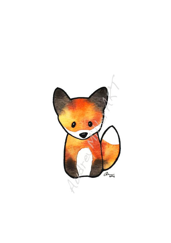 The Fox was originally done in gouache with ink detailing. This print is printed on fine art archival rag paper and is placed in a protective