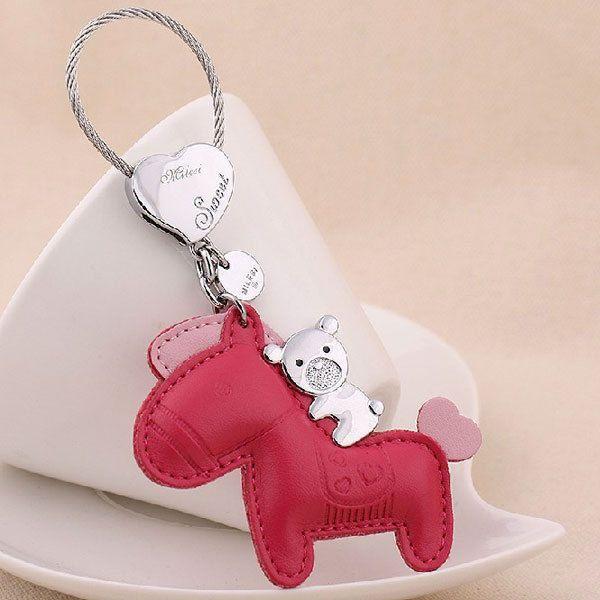 MILESI Cute Horse Bear Leather Women Keychain Car Purse Handbag Key Ring K0112  #MILESI #Fashion