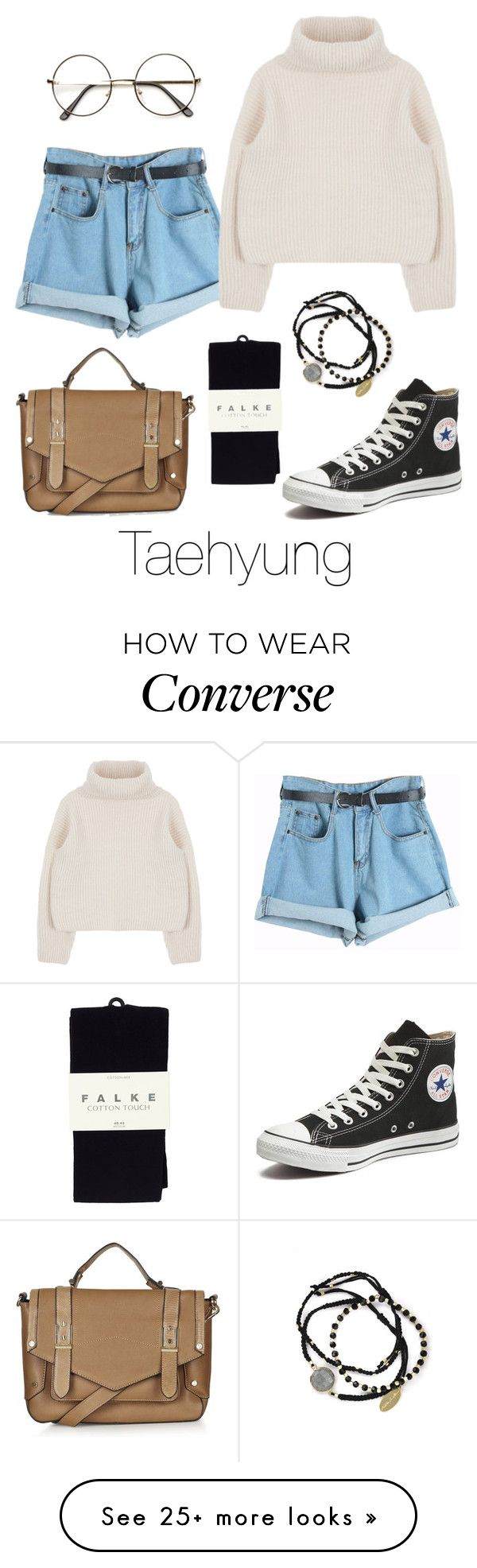 """Taehyung Inspired w/ Converse"" by btsoutfits on Polyvore featuring Chicnova Fashion, Converse, Falke, Feather & Stone and Topshop"