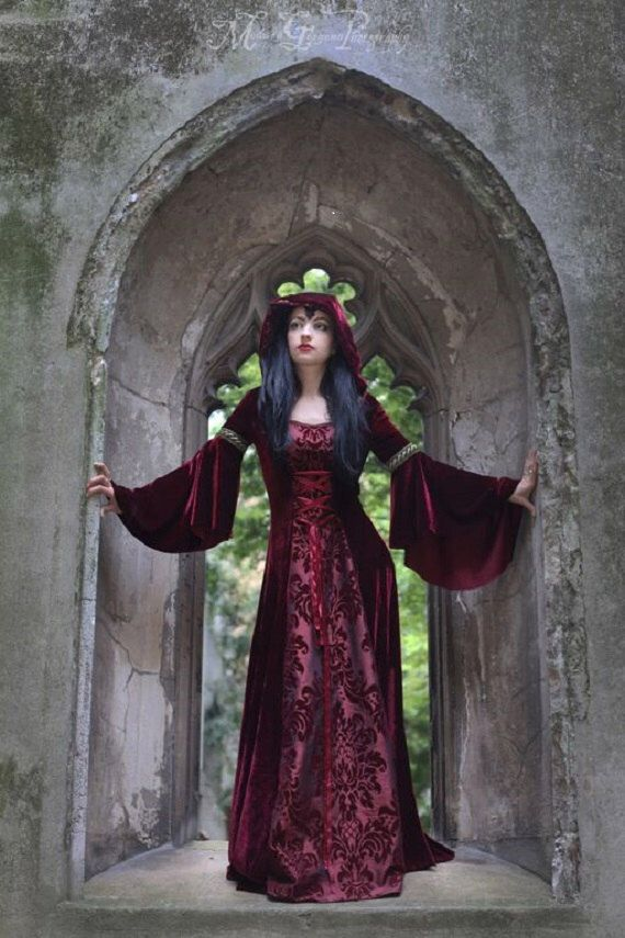Forest Dress - *most colours available* Handmade Gothic Velvet Medieval Hooded dress Pagan LOTR Game of Thrones other colours available by WitchesStitchery on Etsy https://www.etsy.com/listing/245154819/forest-dress-most-colours-available