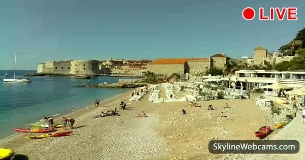 Live images from Banje Beach in Dubrovnik, the most popular destination in Croatia