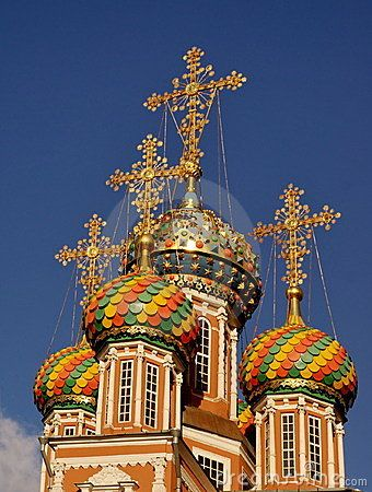 Domes of ancient Russian church. dreamstime.com