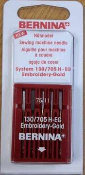 The Gold Embroidery Needles 130/705 H-EG in sizes 75 and 90.The Gold Needles are characterized by an innovative surface coating of Titanium Nitride / Hard chrome.The 4x harder needle surface (compared to conventional needles) forgives slight operating errors and strokes against the needle plate. Even large embroidery designs with thousands of stitches can be produced without changing the needle.