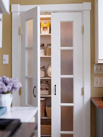food pantry doors-Frosted-Glass Pantry Door inserts obscure what's inside so the pantry doesn't have to be kept tidy.  bhg