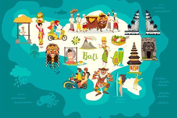 Bali Map And Bali Set Art Dengan Gambar Kartun Peta Indonesia
