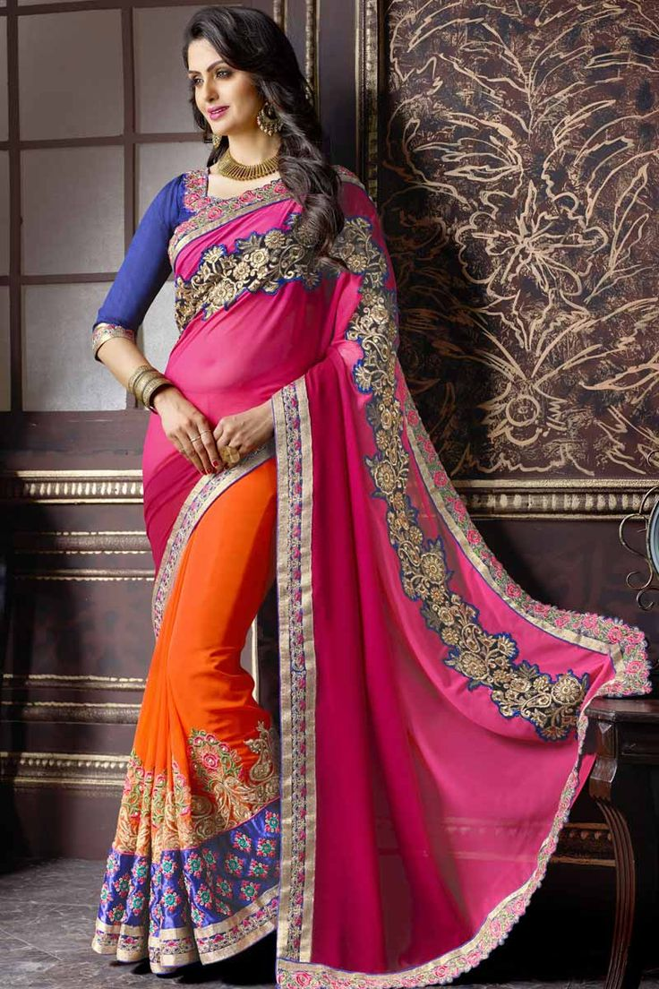 Pink With Orange Georgette Saree With Art Silk Blouse Price: $ 89.36 Pink with Orange, georgette saree with blue, art silk blouse.  Embellished with resham, zari and stone embroidery. Saree with Embroidered Pallu and Lace Border ,Square Neck Blouse, Quarter Sleeve Blouse.  It comes with unstitch blouse, it can be stitched to 34,36,38,40 sizes.  http://www.andaazfashion.com/womens/sarees/pink-with-orange-georgette-saree-with-art-silk-blouse-dmv9124.html
